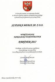 Partner 2017- Wyróżnienie Marszałka Województwa